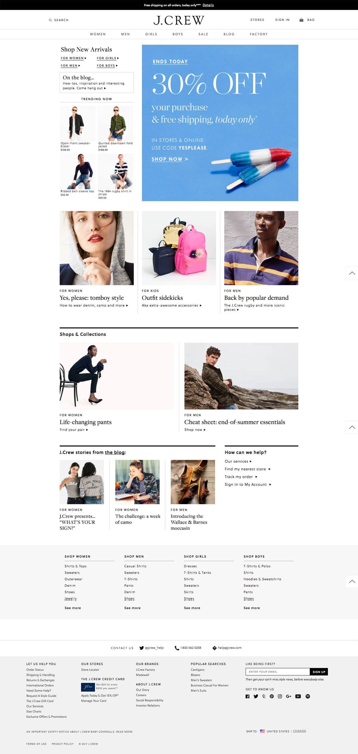eCommerce website: J. Crew