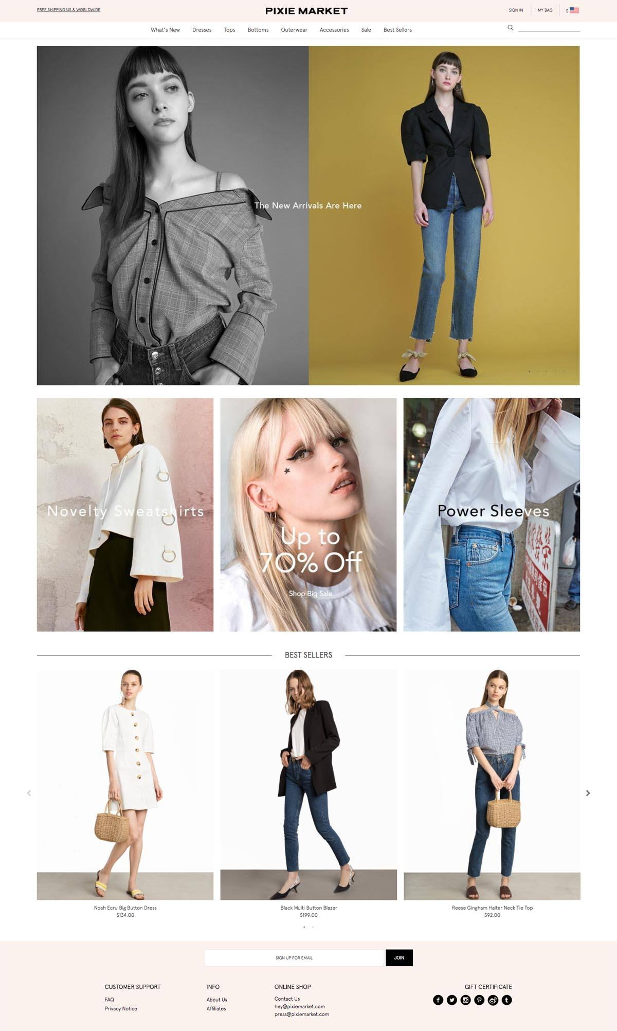 eCommerce website: Pixie Market
