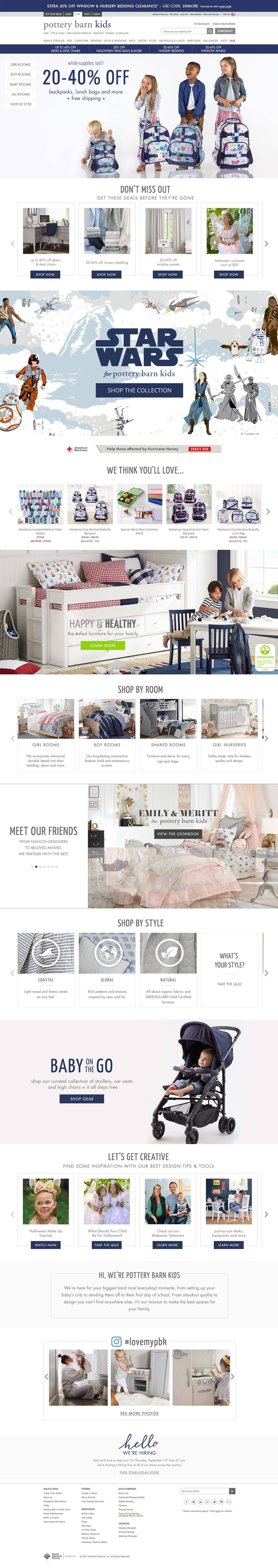 eCommerce website: Pottery Barn Kids