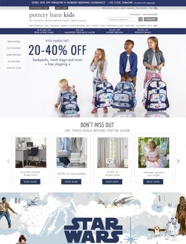 eCommerce website: Pottery Barn Kids