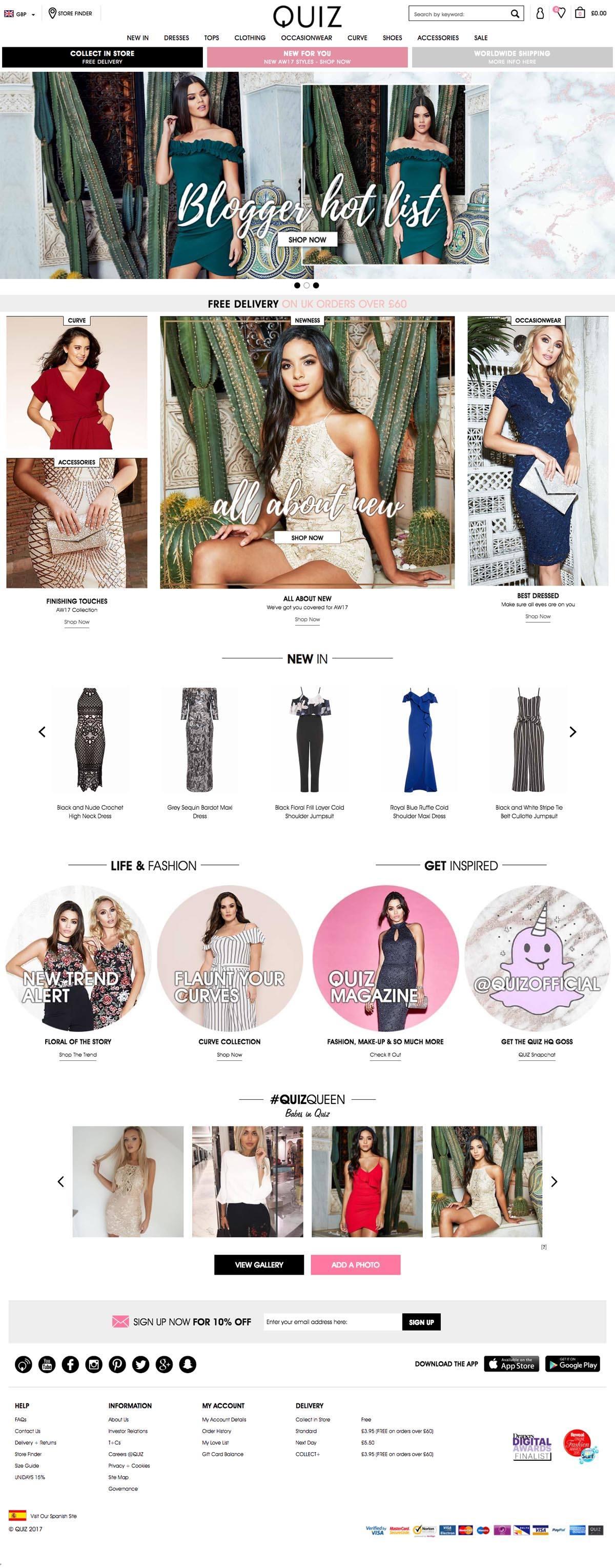 eCommerce website: QUIZ
