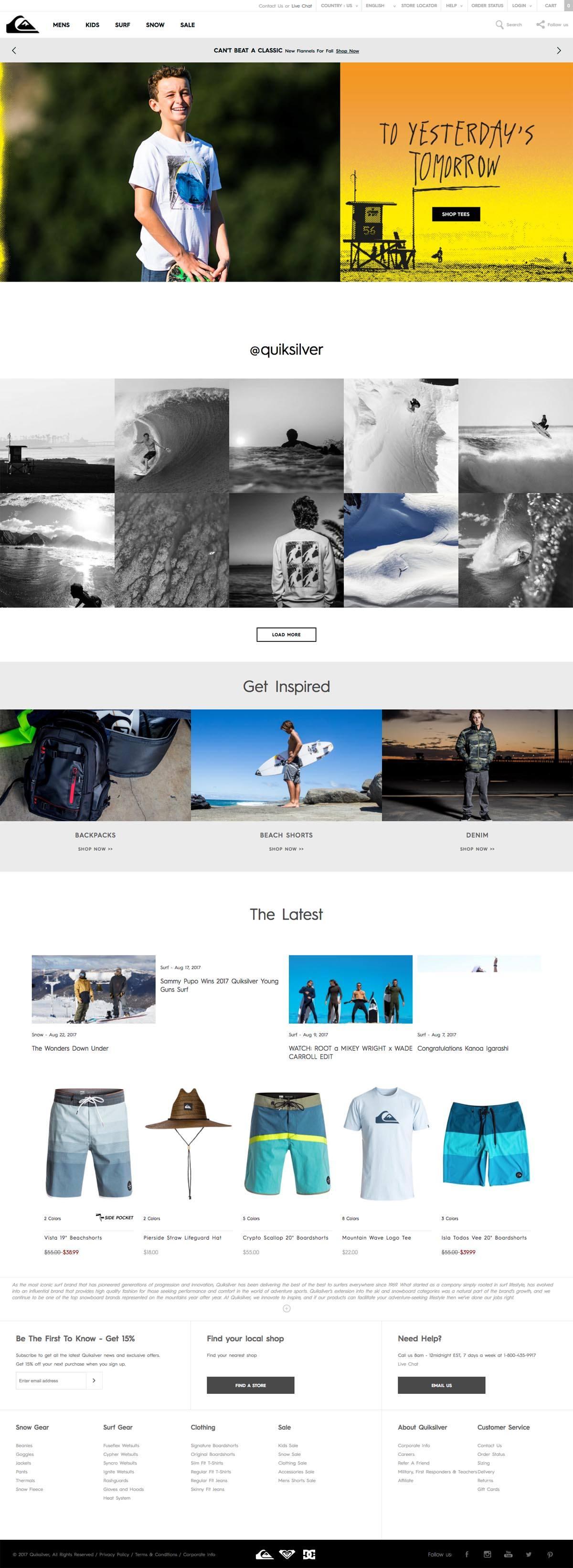 eCommerce website: Quiksilver