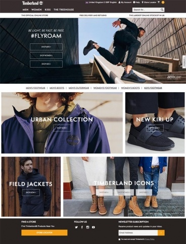 eCommerce website: Timberland