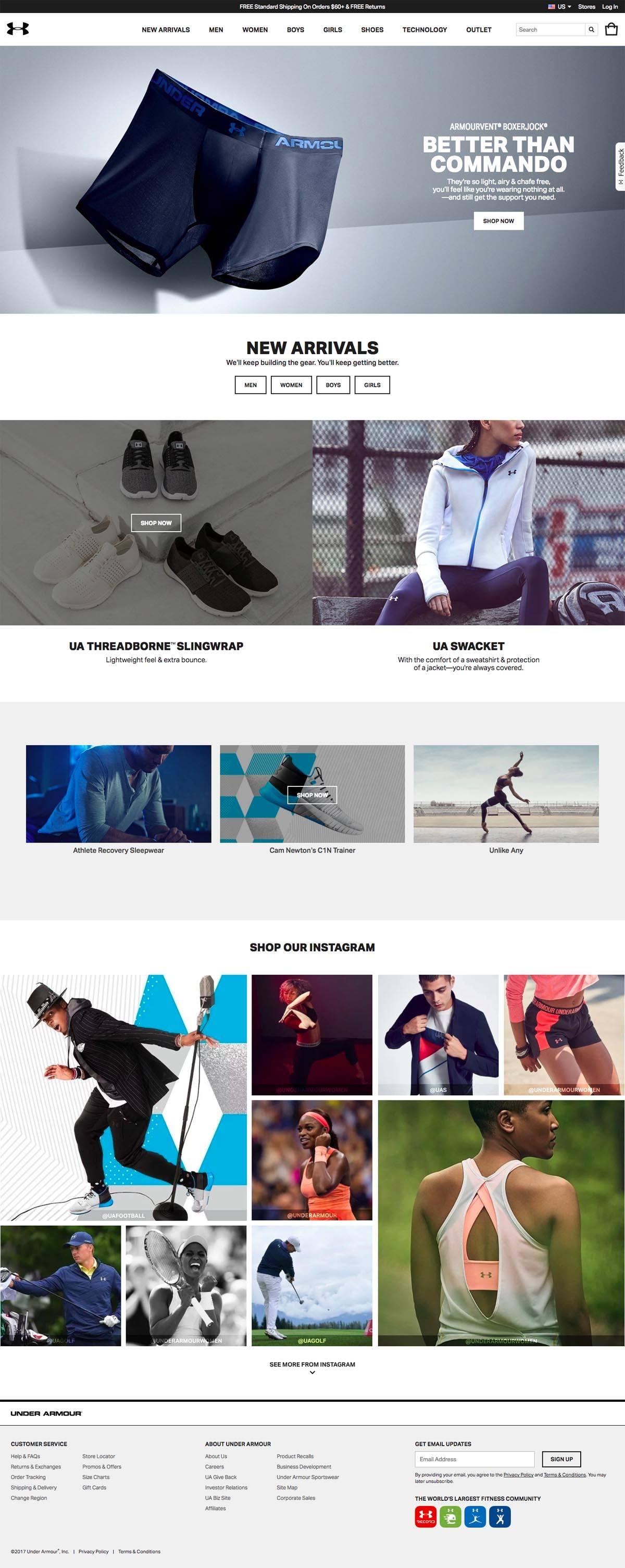 eCommerce website: Under Armour