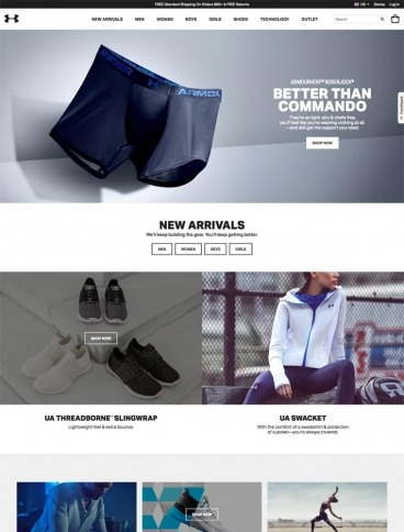 eCommerce website: Under Armour