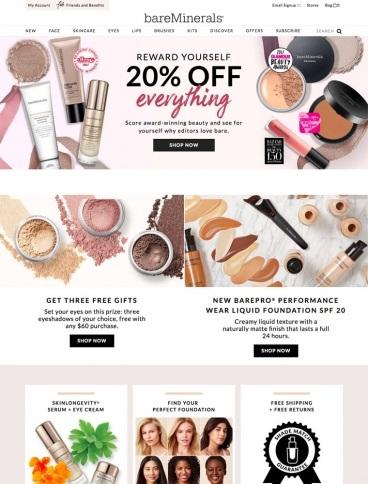 eCommerce website: bareMinerals