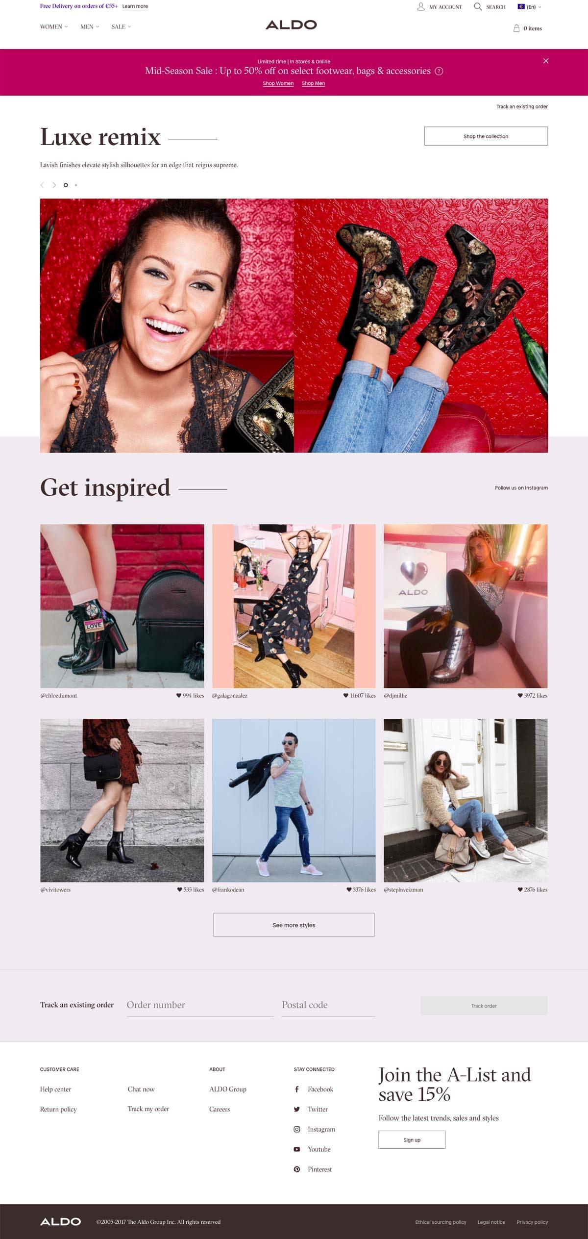 eCommerce website: ALDO Shoes