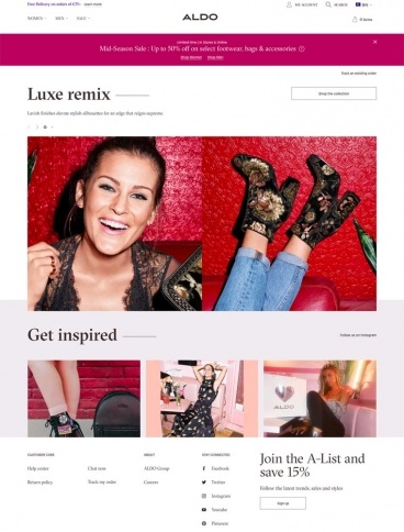 eCommerce website: ALDO Shoes