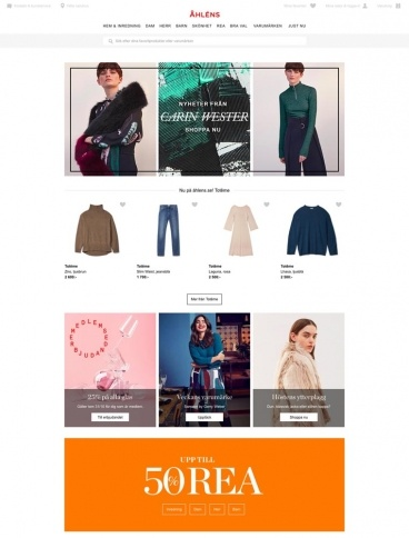 eCommerce website: Ahlens