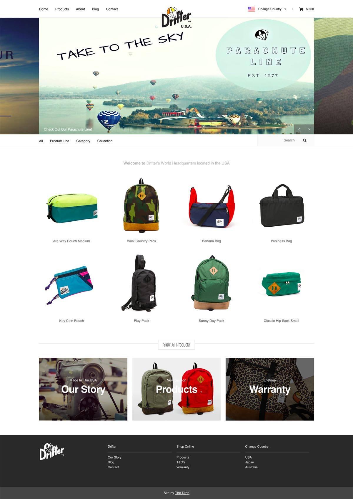 eCommerce website: Drifter Bags