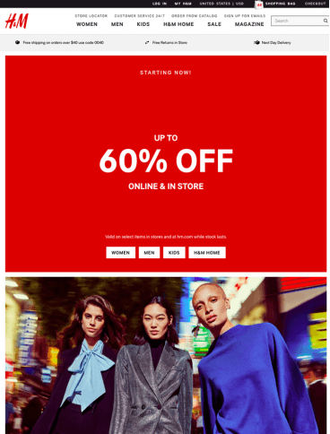 eCommerce website: H&M