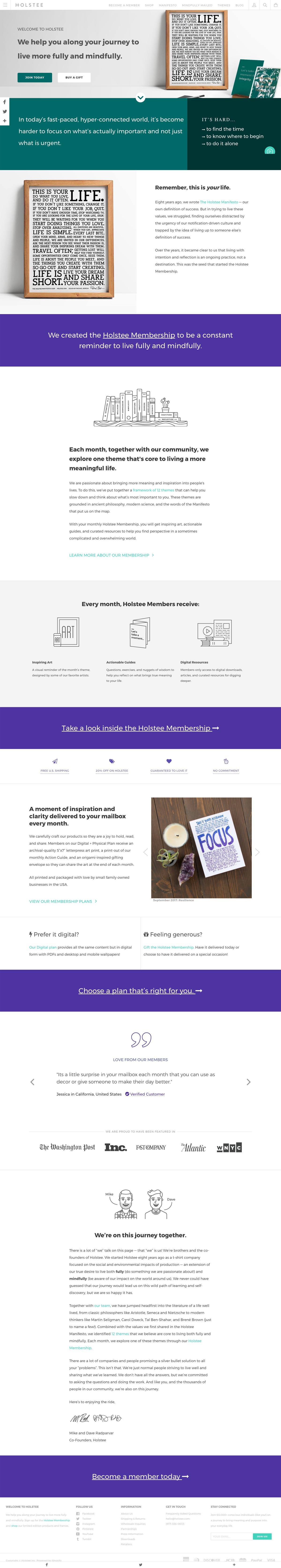 eCommerce website: Holstee