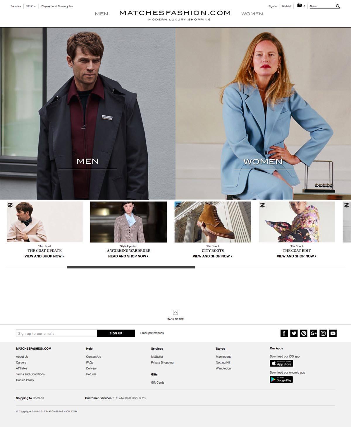 eCommerce website: MATCHESFASHION