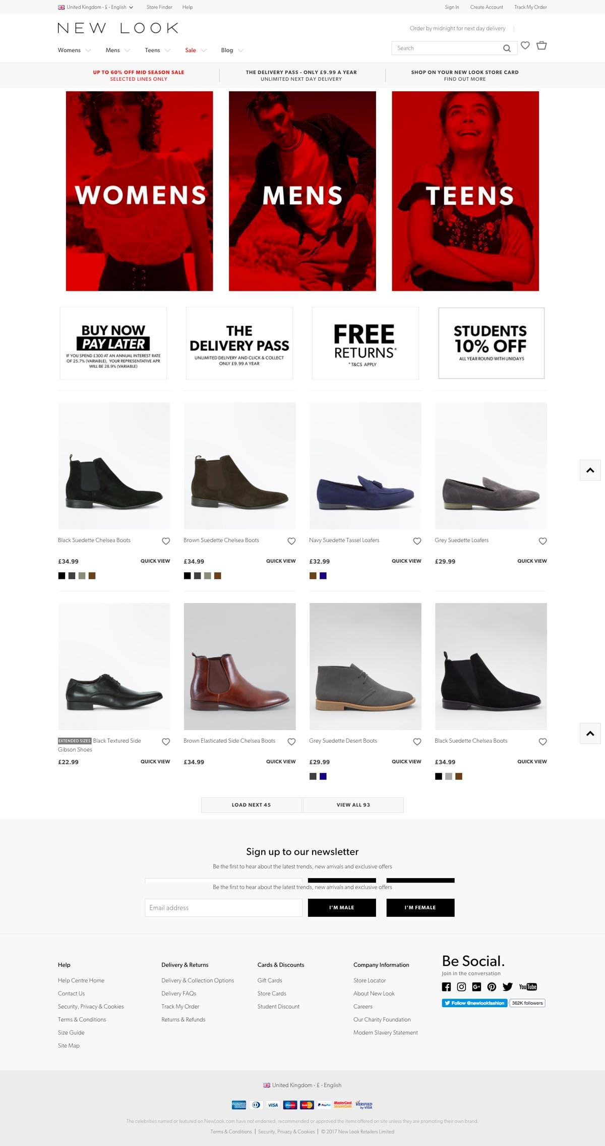eCommerce website: New Look Fashion