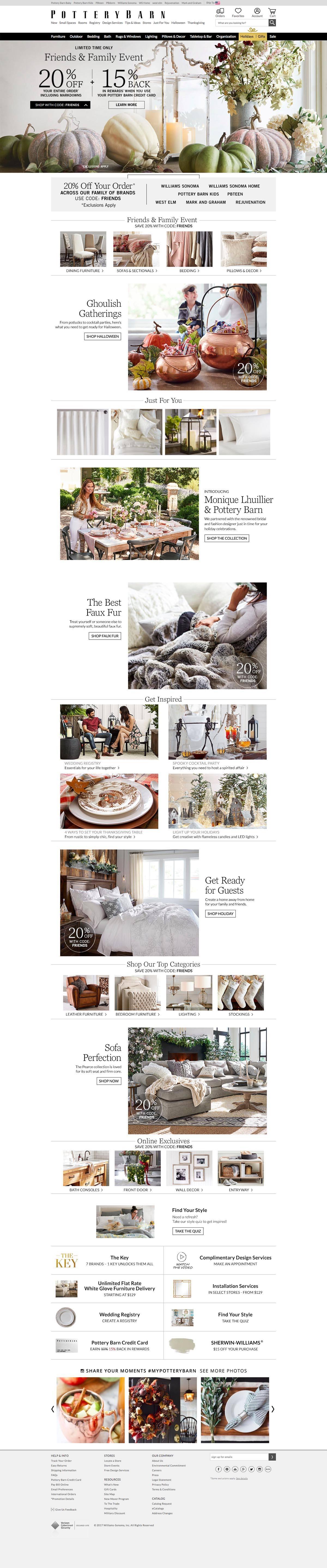 eCommerce website: Pottery Barn