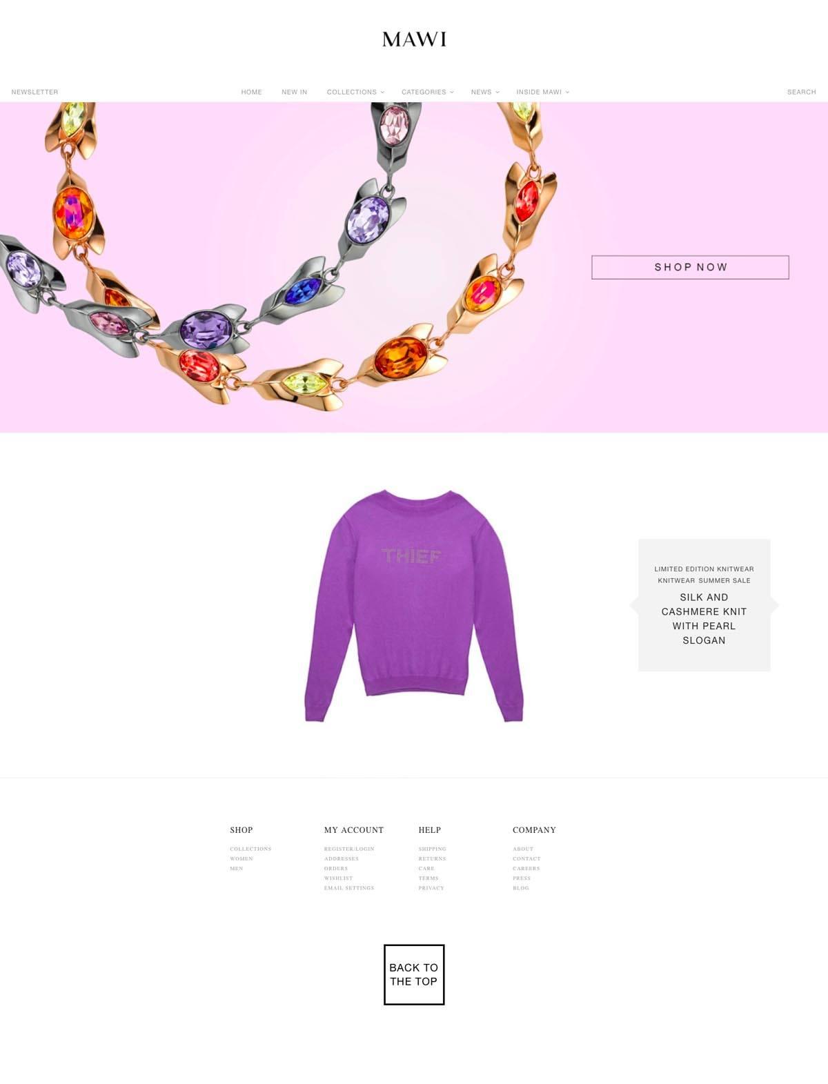 eCommerce website: MAWI