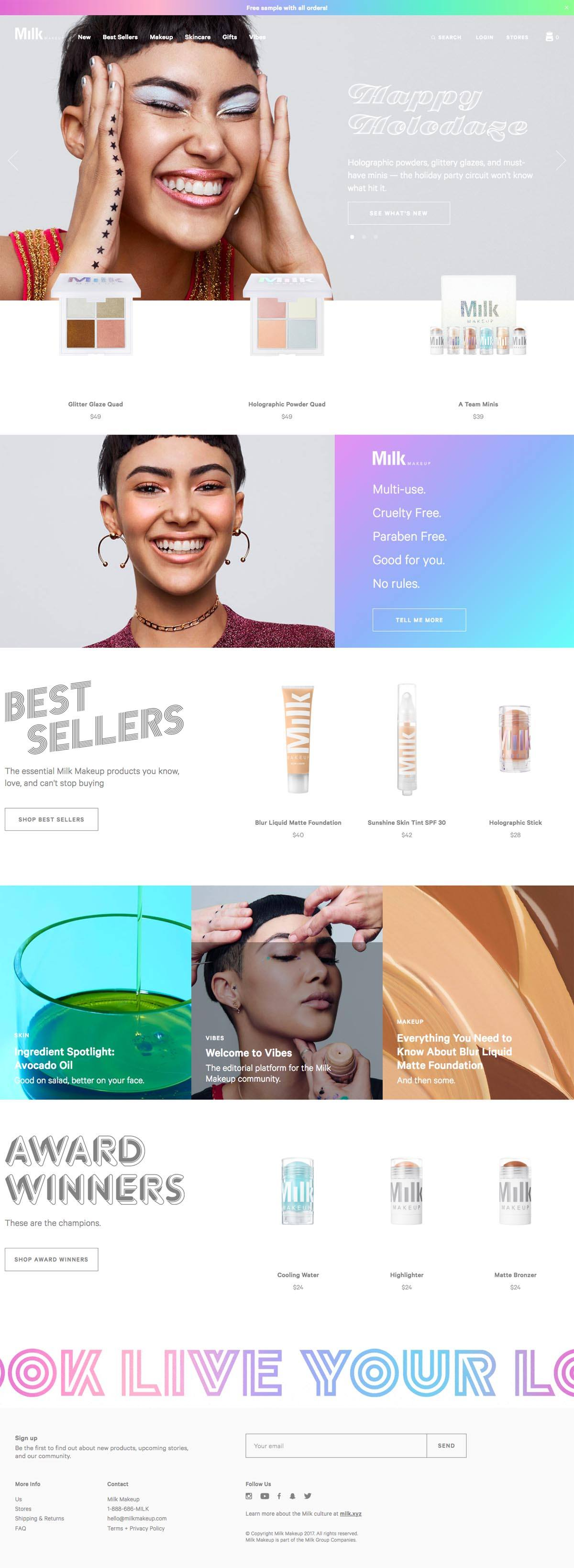 eCommerce website: Milk Makeup