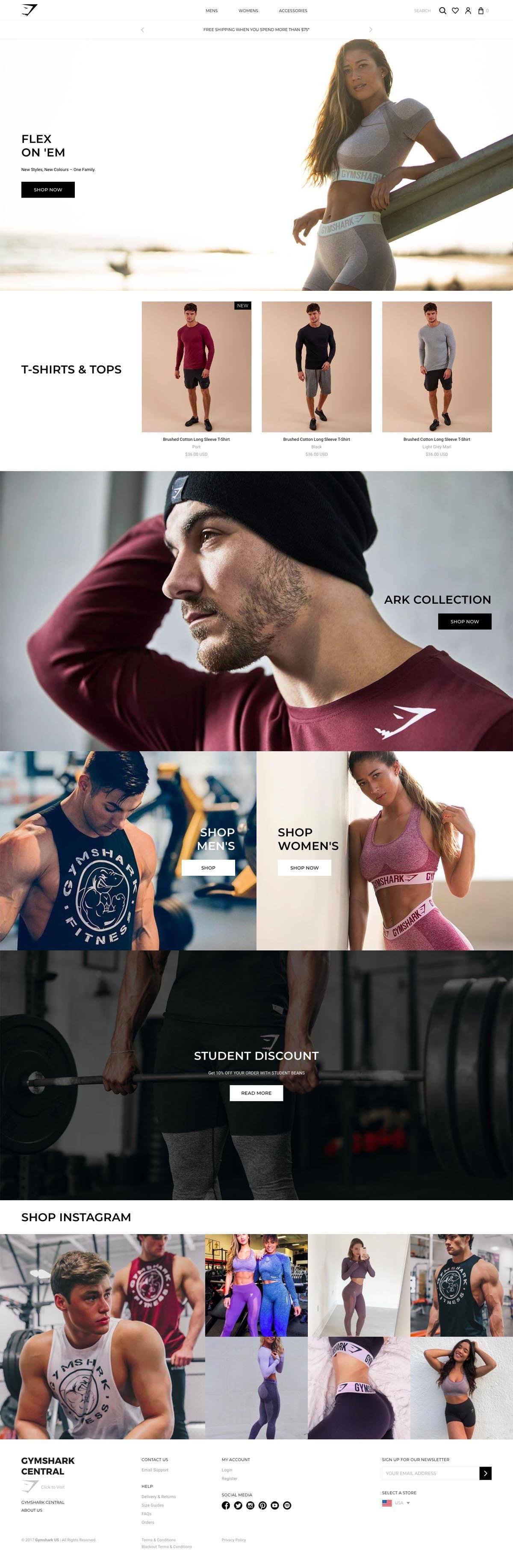 eCommerce website: Gymshark