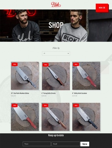 eCommerce website: Blok Knives