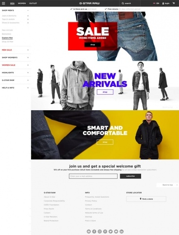 eCommerce website: G-Star RAW
