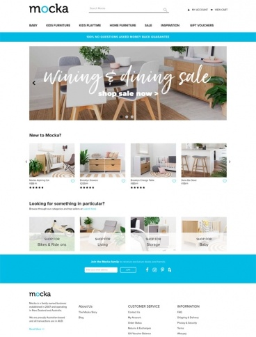 eCommerce website: Mocka Australia