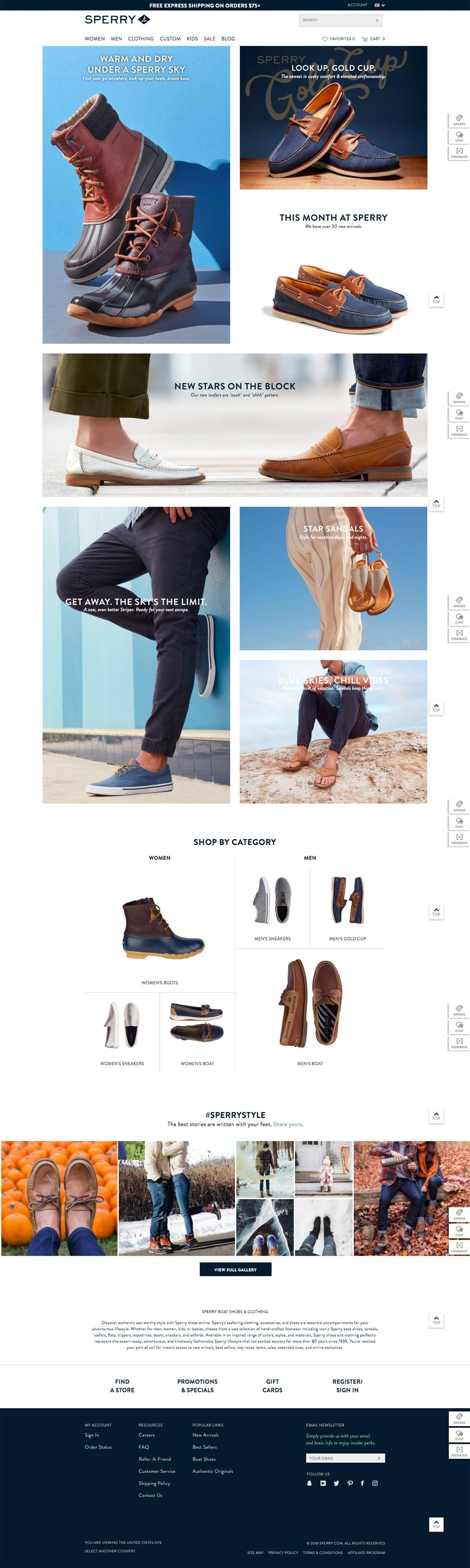 eCommerce website: Sperry