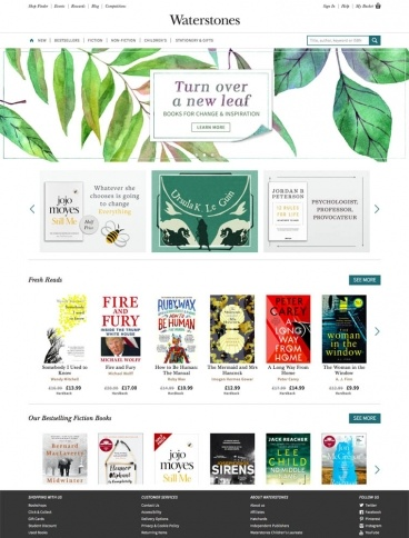 eCommerce website: Waterstones