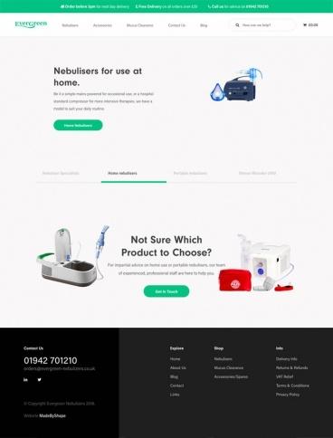 eCommerce website: Evergreen Nebulisers