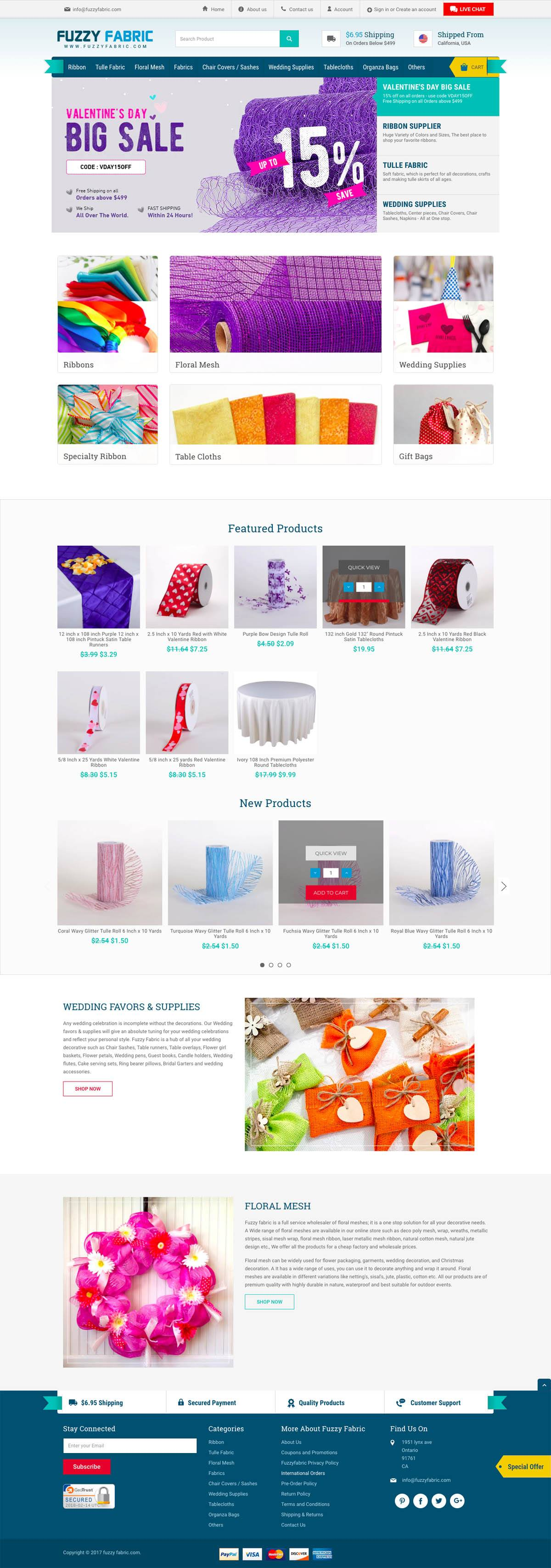 eCommerce website: Fuzzy Fabric