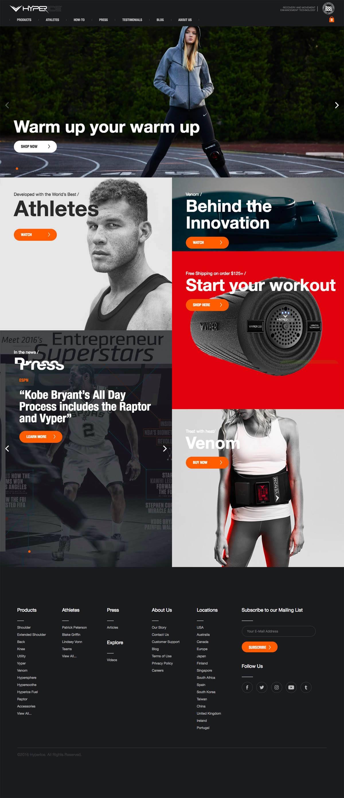 eCommerce website: Hyperice