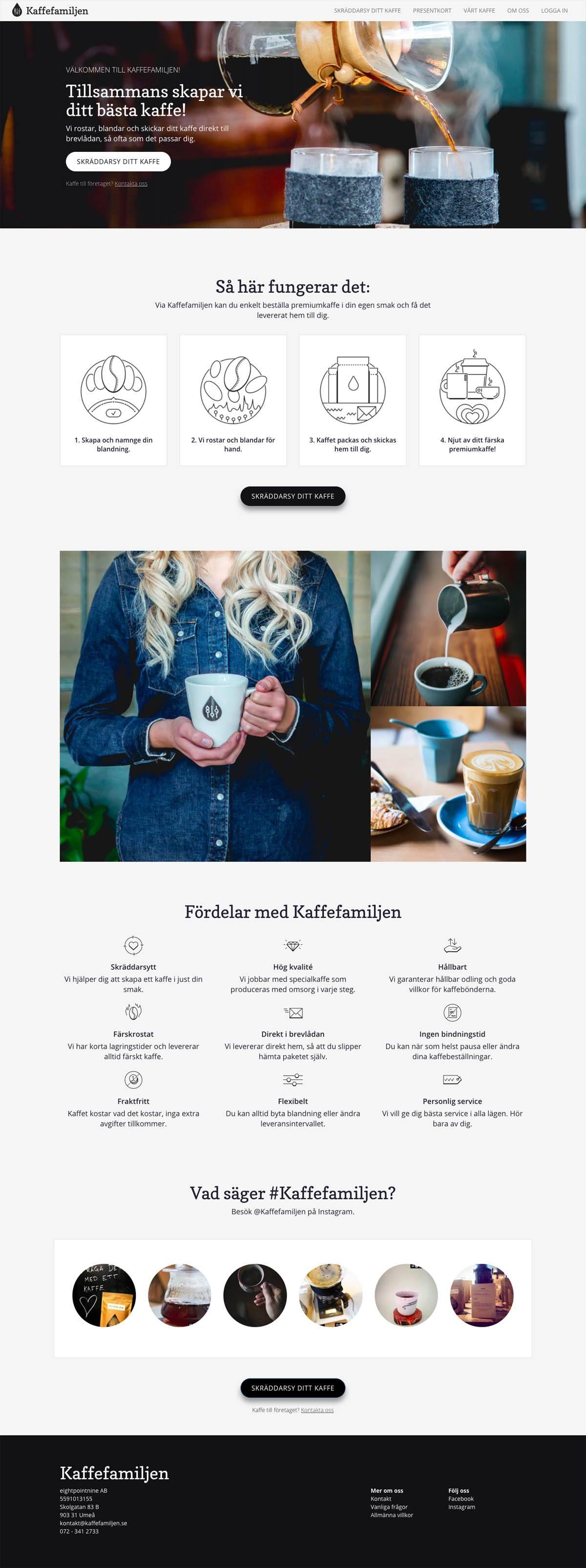 eCommerce website: Kaffefamiljen