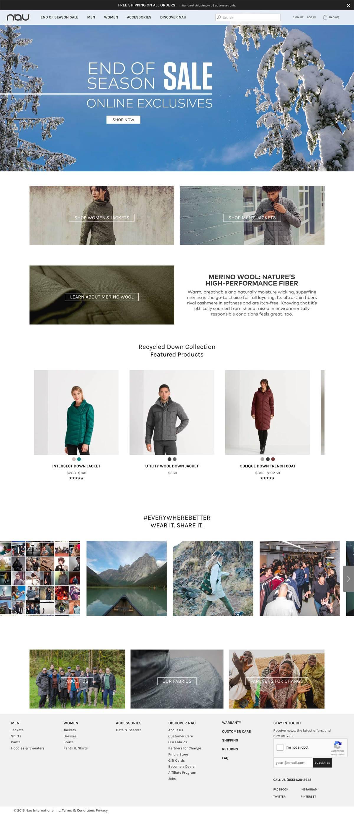 eCommerce website: Nau Clothing