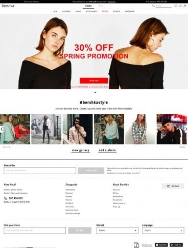 eCommerce website: Bershka