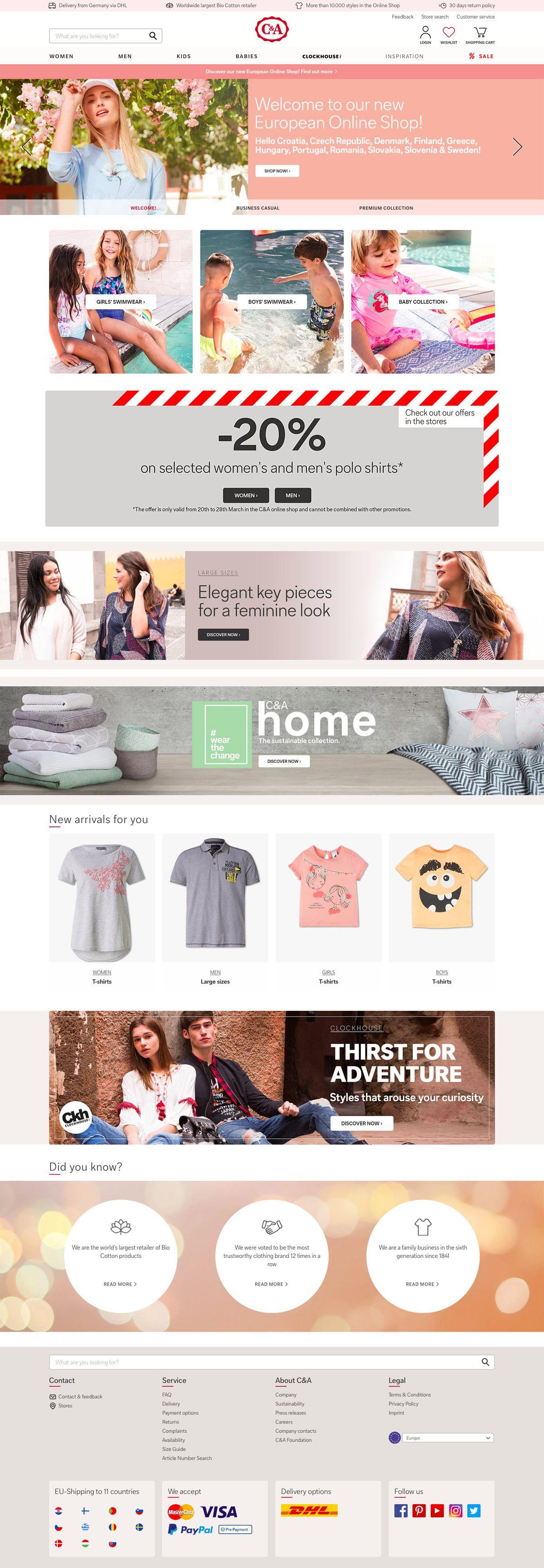 eCommerce website: C&A