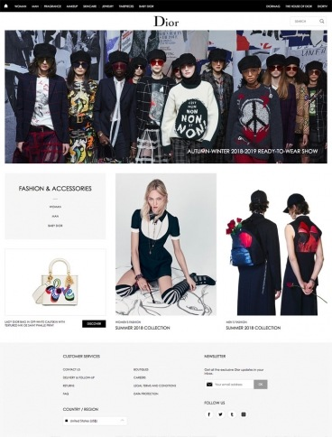 eCommerce website: Christian Dior