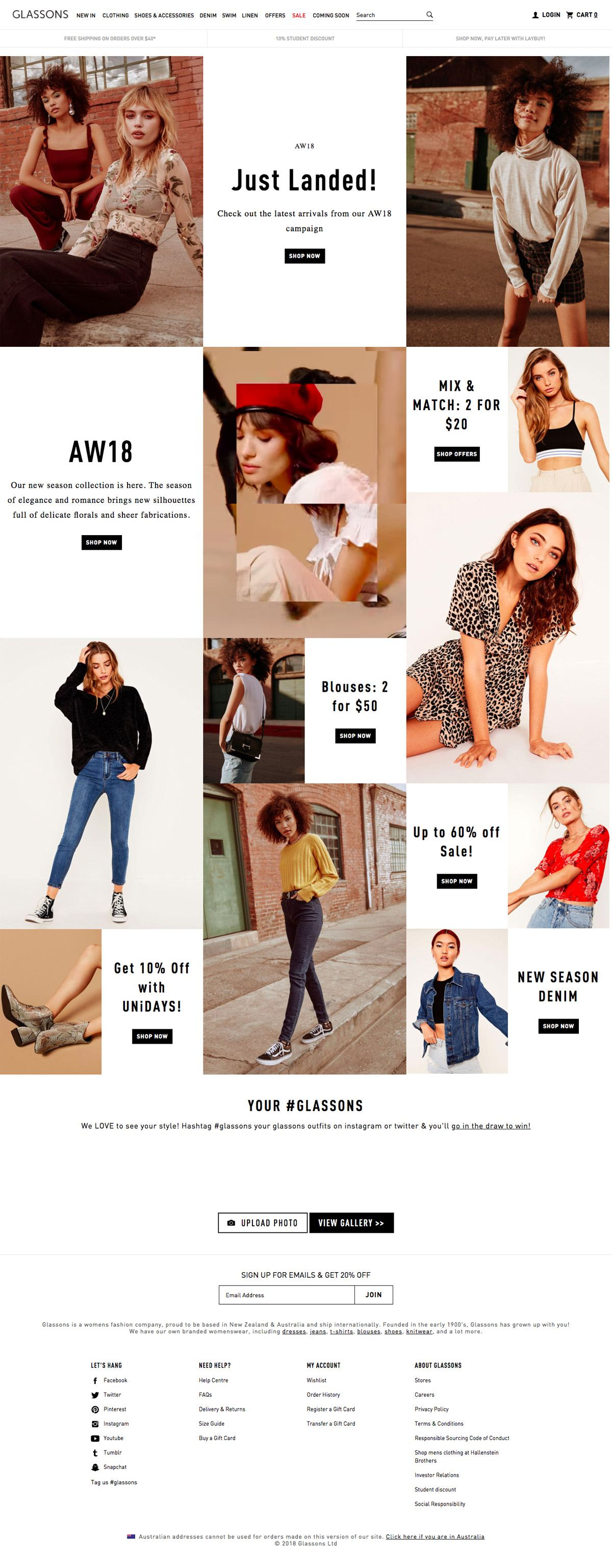 eCommerce website: Glassons
