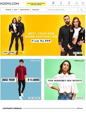 eCommerce website: KOOVS