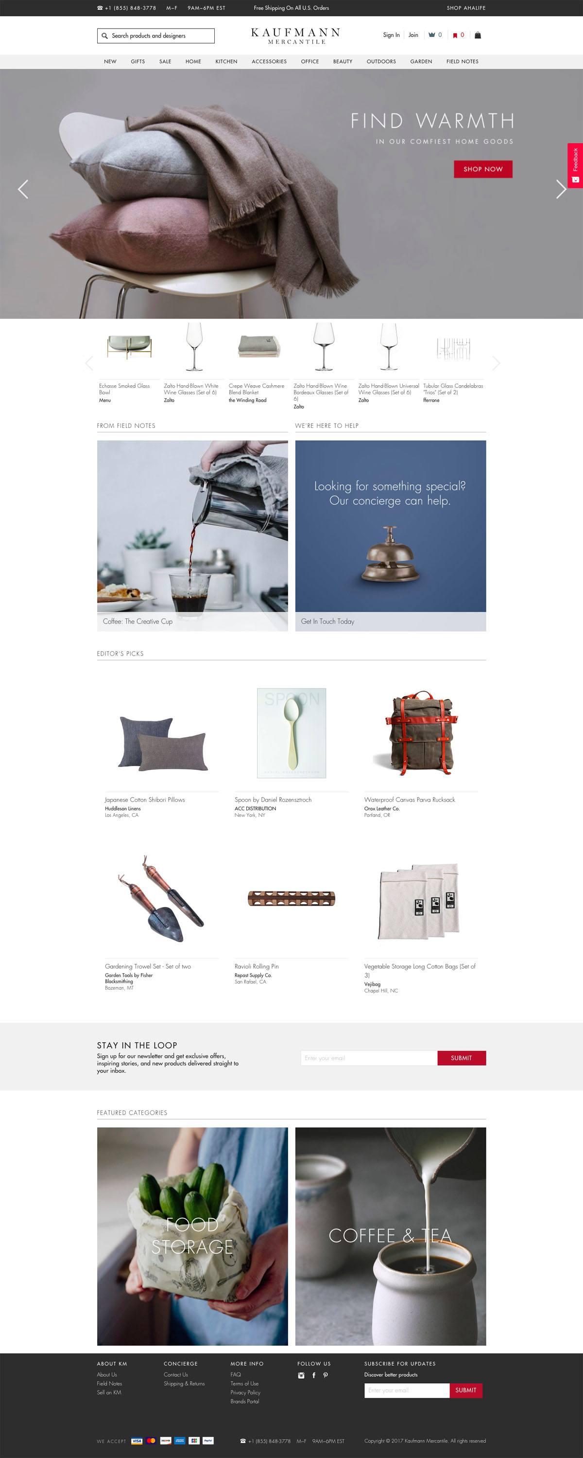 eCommerce website: Kaufmann Mercantile