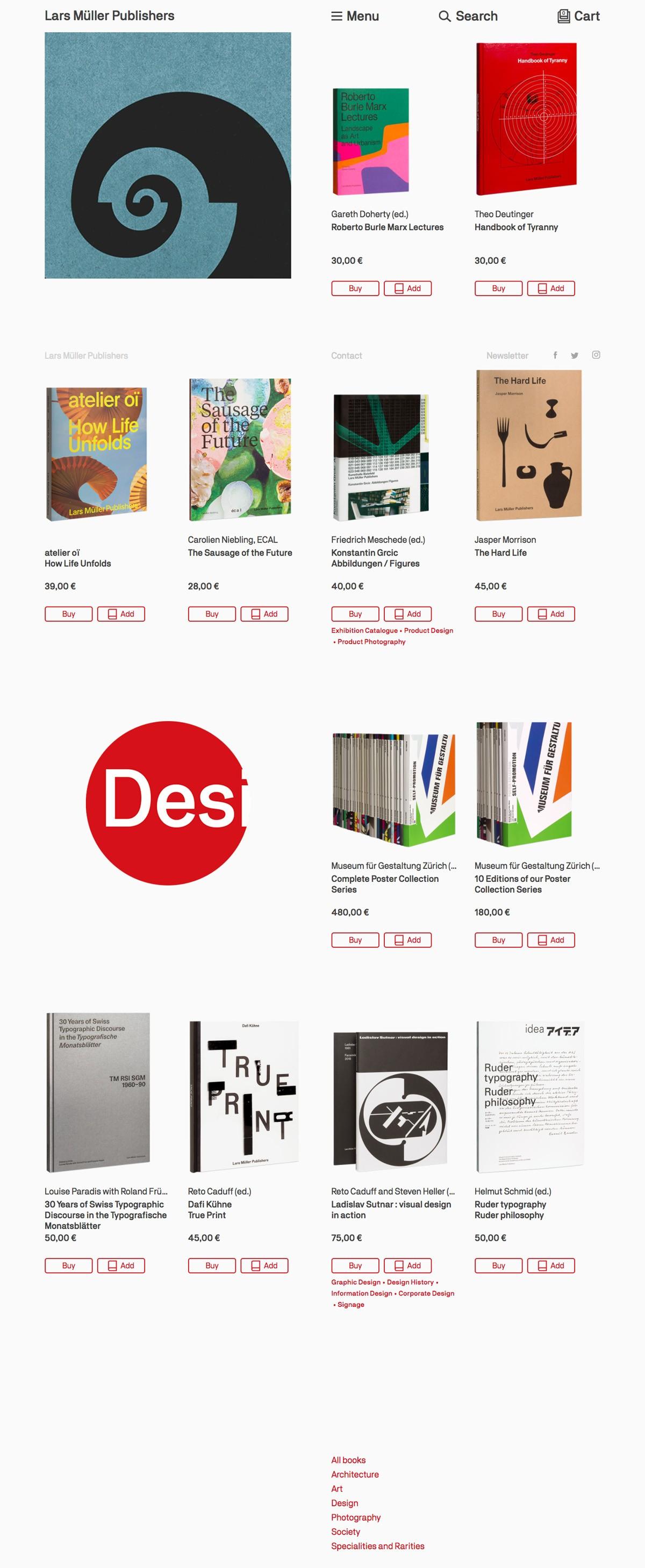 eCommerce website: Lars Muller Publishers