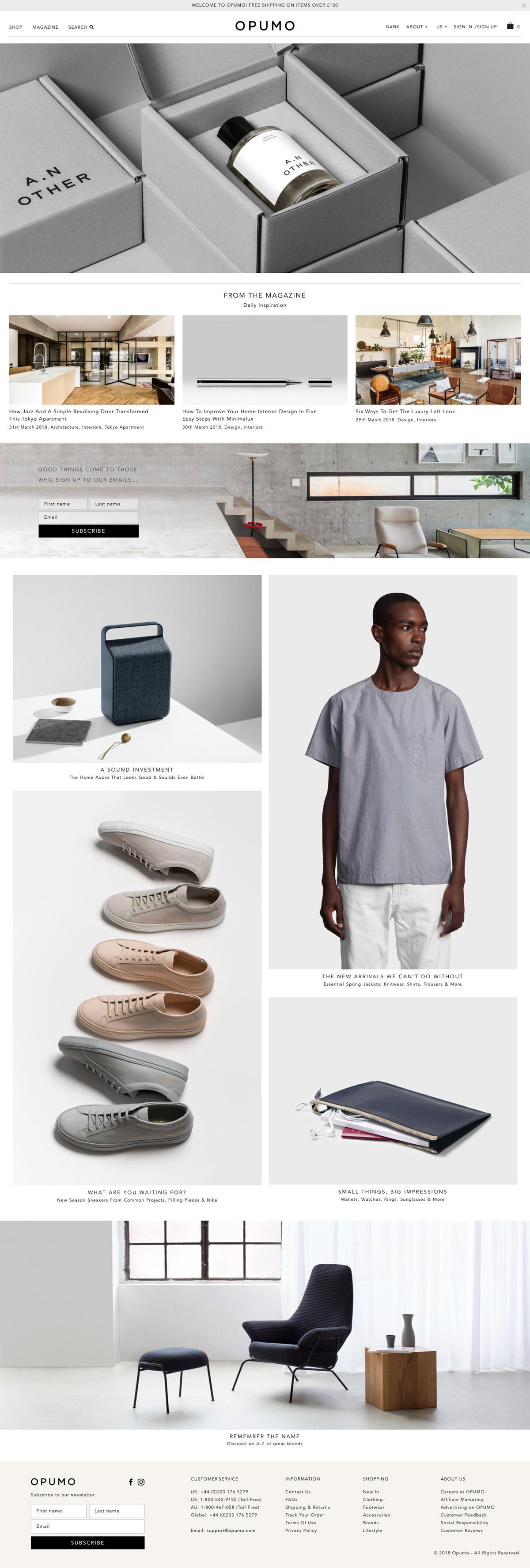 eCommerce website: OPUMO