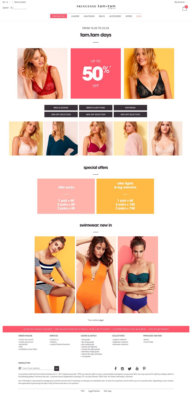 eCommerce website: Princesse tam.tam