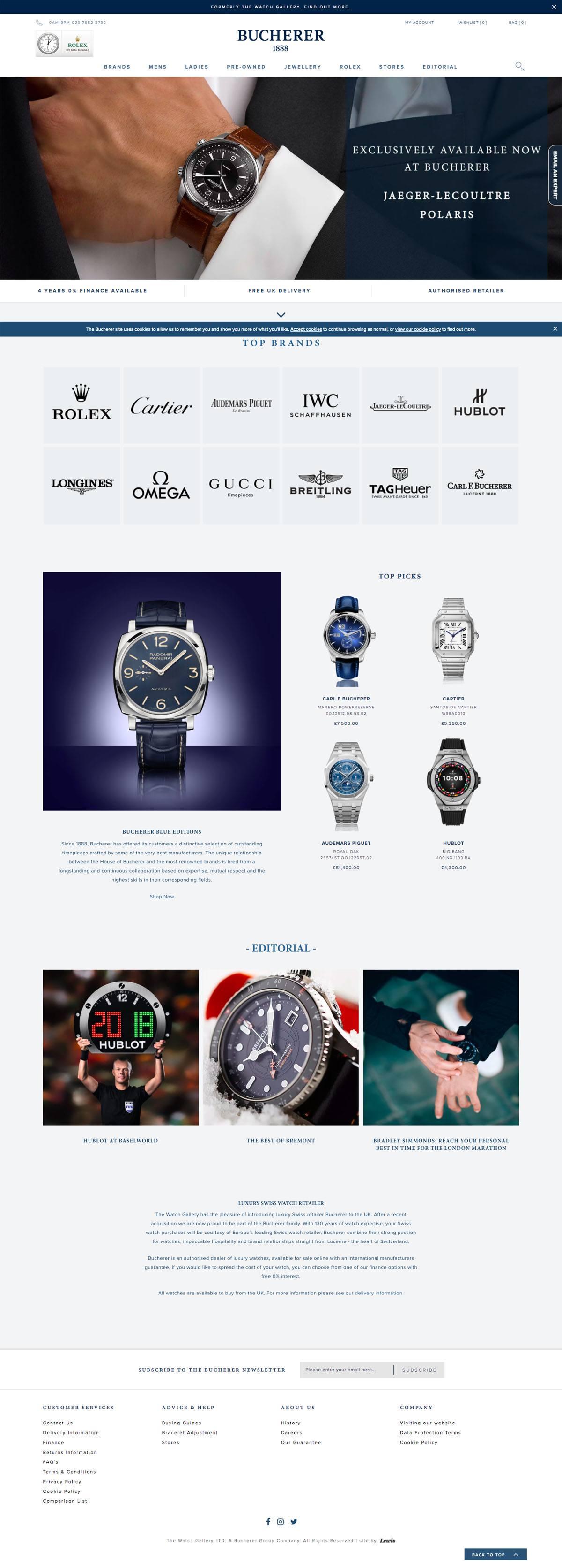 eCommerce website: Bucherer