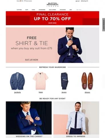 eCommerce website: Burton Menswear