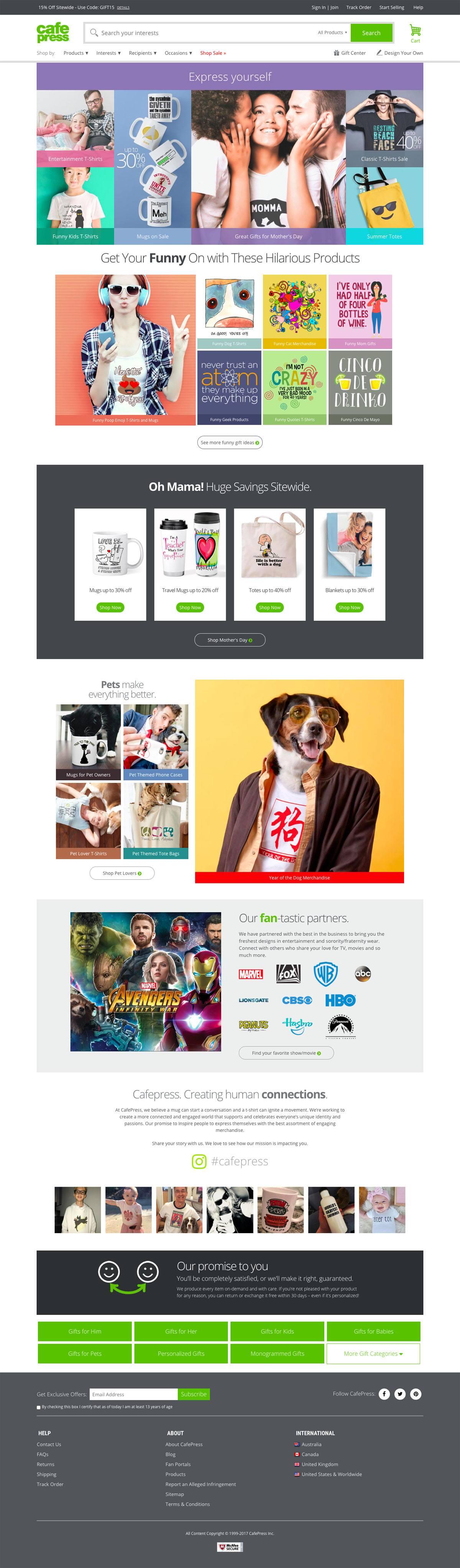 eCommerce website: CafePress