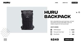 eCommerce website: Huru Backpack