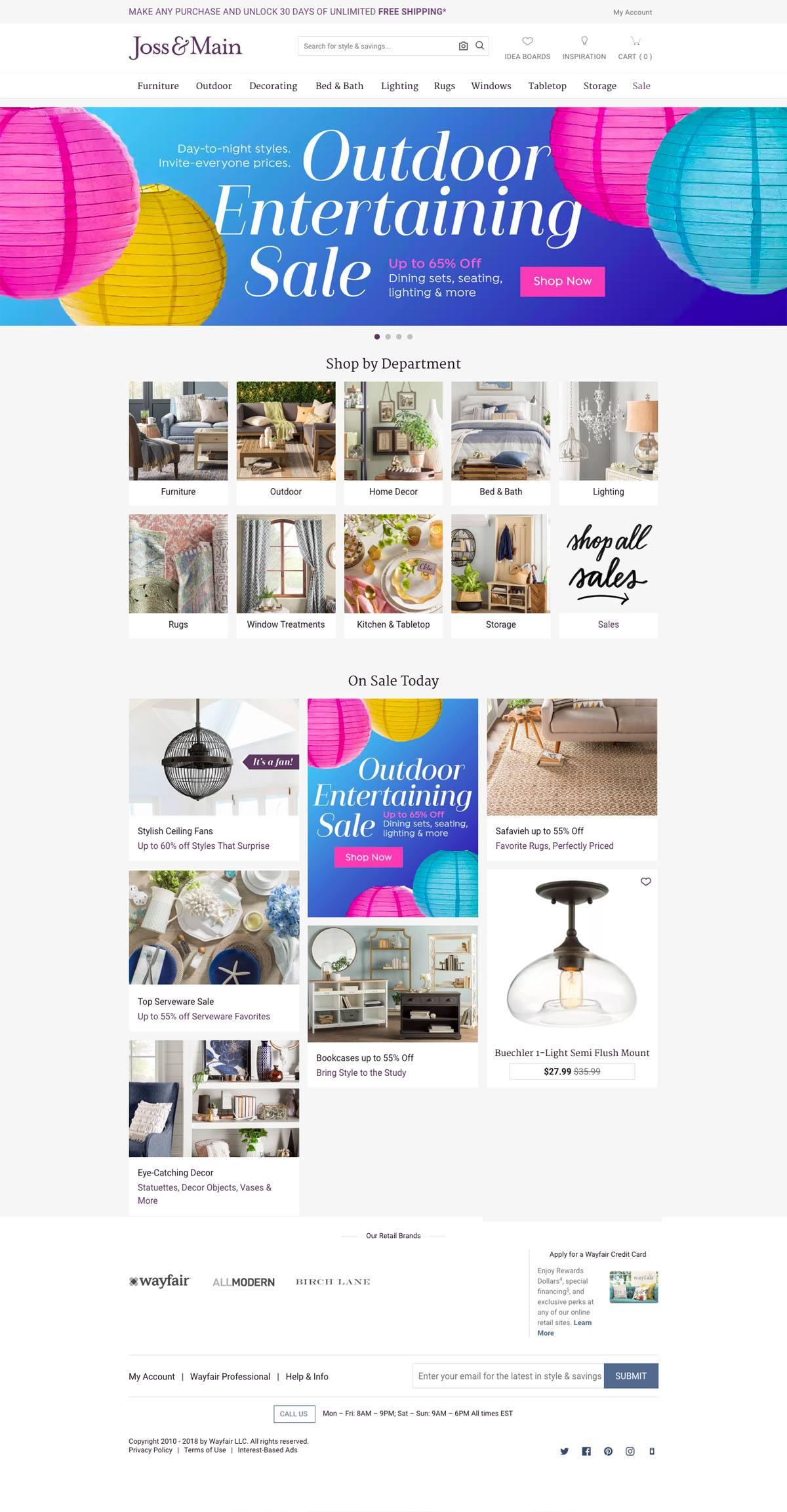 eCommerce website: Joss & Main