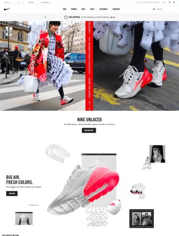 eCommerce website: Nike