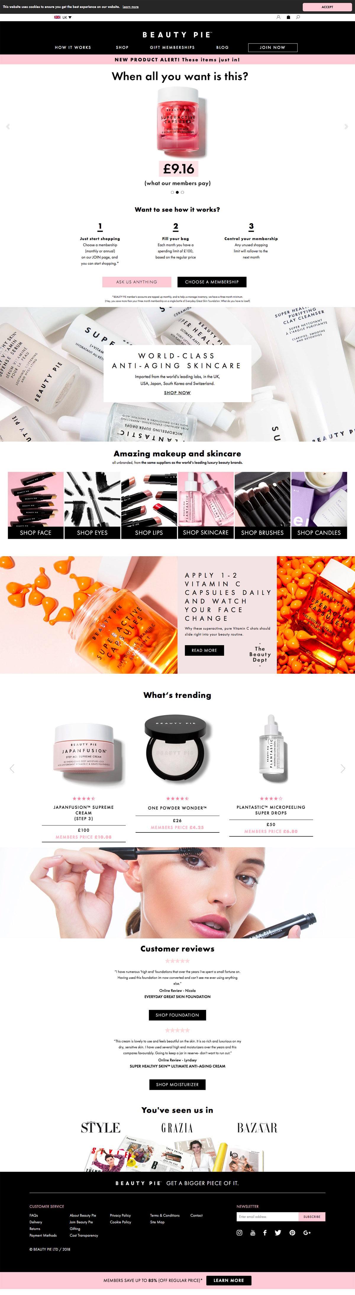 eCommerce website: Beauty Pie