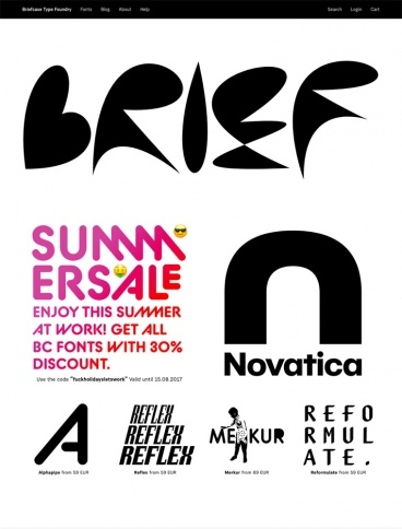 eCommerce website: Briefcase Type Foundry