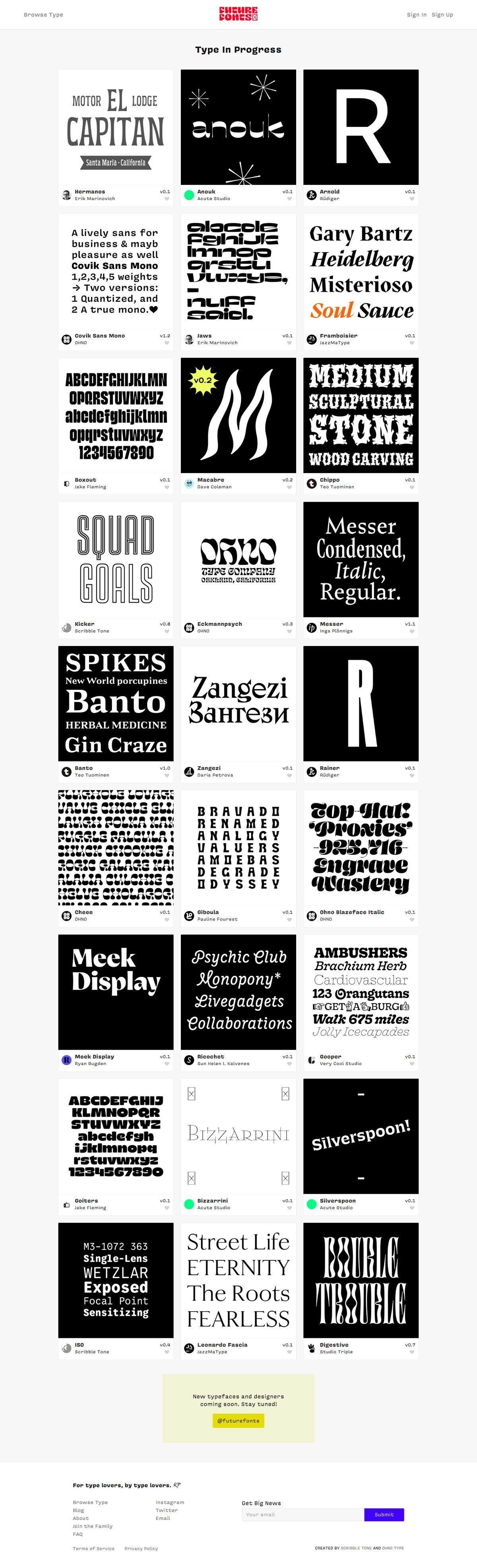 eCommerce website: Future Fonts